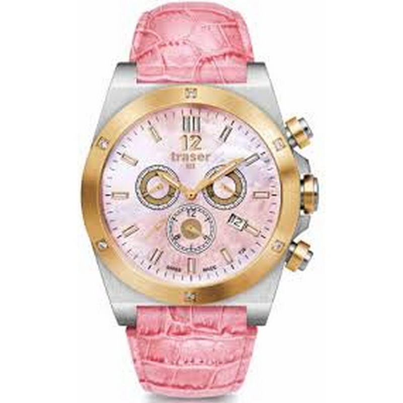 Traser Lady Pink Chrono Leather Watch