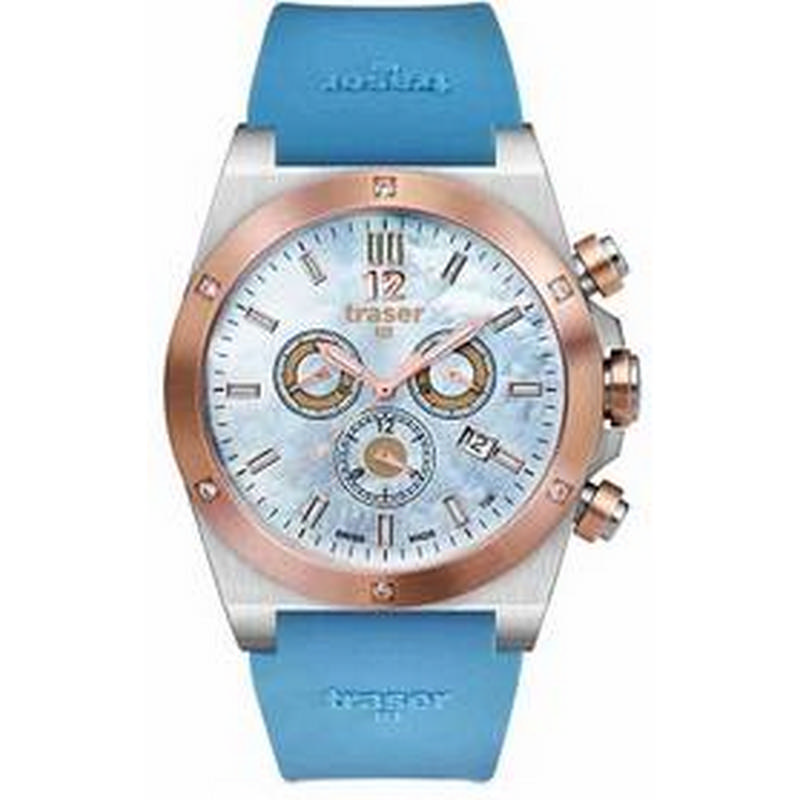 Traser Lady Blue Chrono Silicon Watch